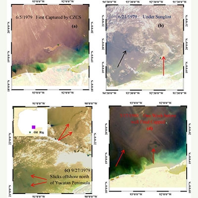 Surface Oil Footprint And Trajectory Of The Ixtoc-I Oil Spill Determined From Landsat/MSS And CZCS Observations
