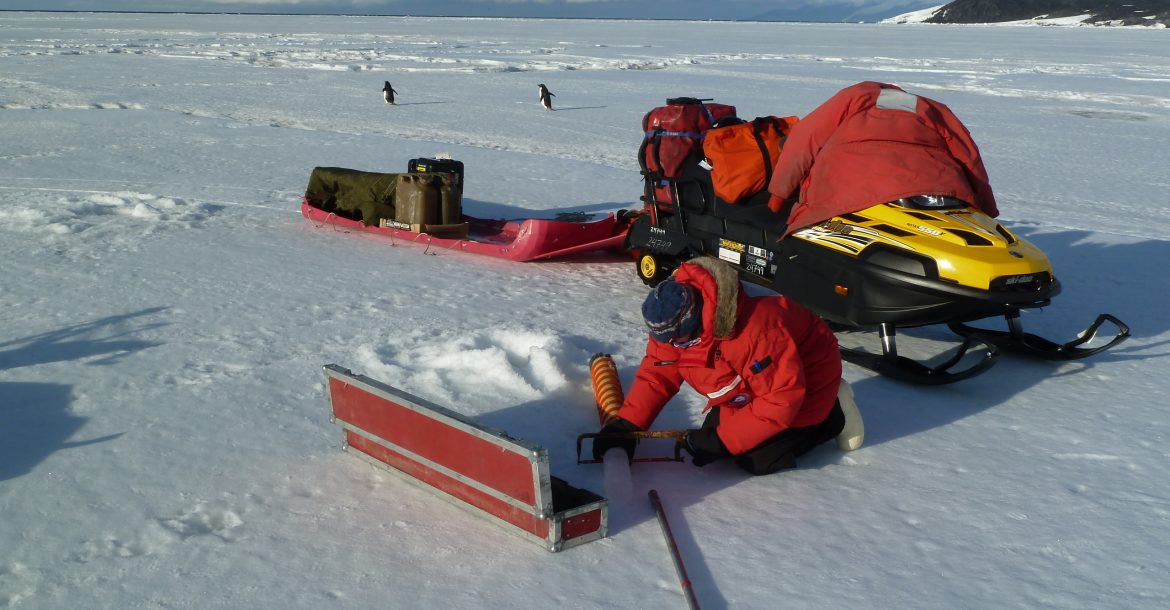 USFCMS researcher taking core samples in Antarctica