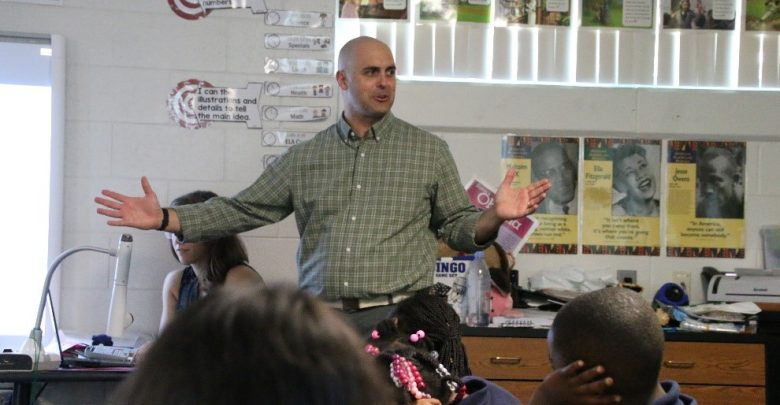 Brad Rosenheim gives a show and tell on Antarctica to students at Campbell Park Elementary school