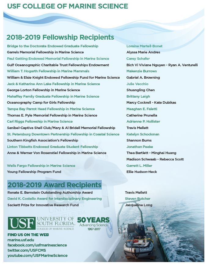 The 2018-2019 USFCMS Fellowship Recipients