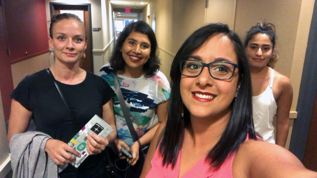 Breitbart lab members present their research at the Aquatic Virus Workshop in Lincoln, Nebraska. From left to right: Anni Djurhuus, Natalie Sawaya, Natalia Lopez, Kema Malki