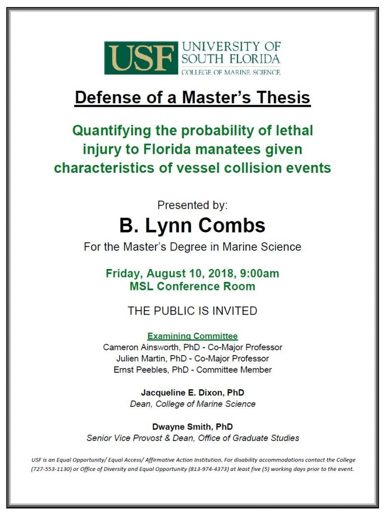 B. Lynn Combs, For the Master's Degree in Marine Science