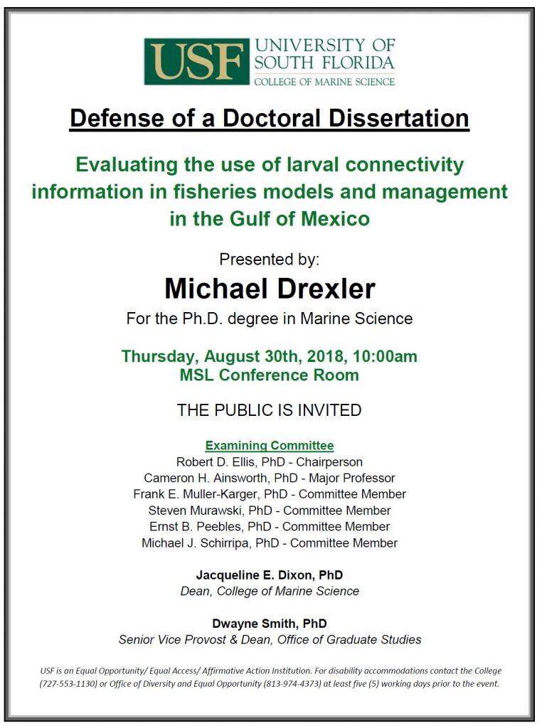 Michael Drexler For The Ph D Degree In Marine Science USF