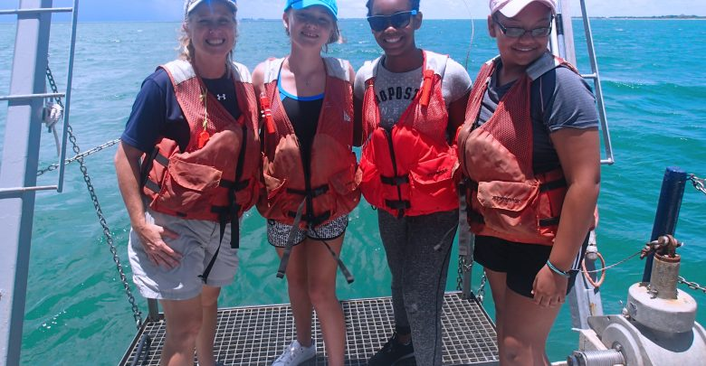 Teresa Greely with students at Oceanography Camp for Girls