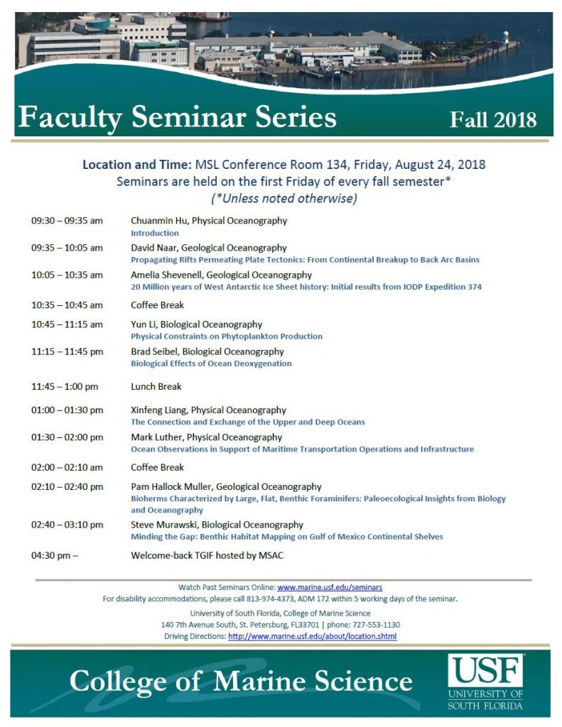 Faculty Seminar Series – Fall 2018