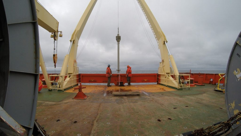 Retrieving Kasten Core sediments from Ross Sea on the back deck of the Nathaniel B Palmer.