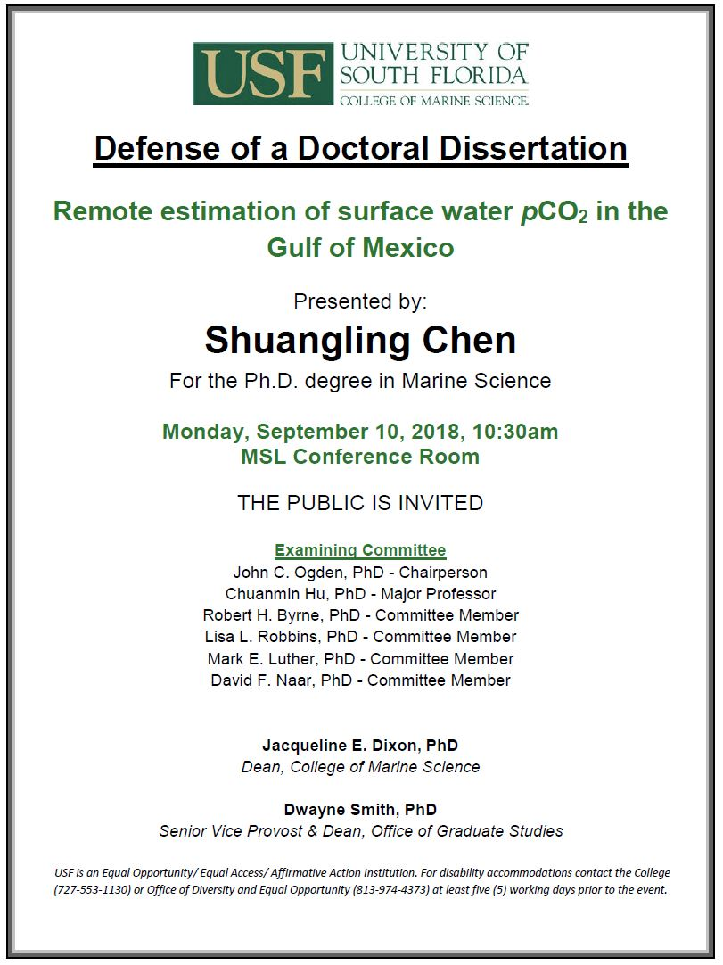 Shuangling Chen Defense of Doctoral Dissertation