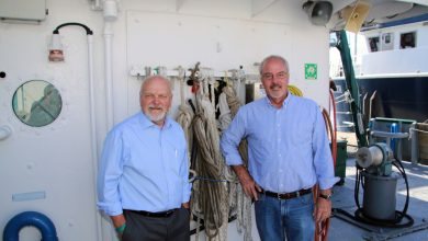 Dr. Steven Murawski and Dr. Ernst Peebles aboard the R/V Weatherbird II