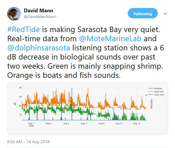 Dr. Mann said the Gulf has been eerily quiet recently due to the epic recent red tide, as indicated in a recent tweet he shared with the audience.