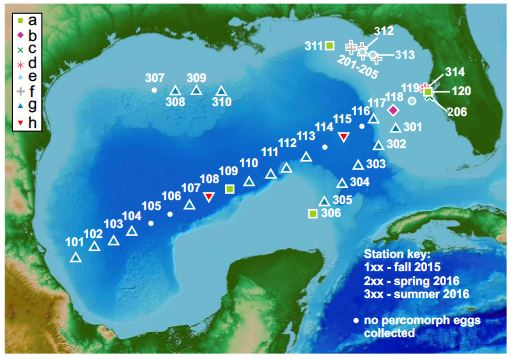 Map of plankton stations, identified by SIMPROF group. The symbols for stations 206 and 314 were jittered for clarity, but were much closer to station 120 than depicted here.