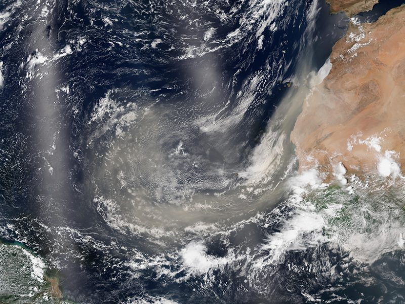 Dust storms from the Sahara supply many important chemical elements to the ocean. In a new study, researchers test how thorium can be used to quantify these elemental fluxes, which can be difficult to measure directly. Photo Credit: NASA