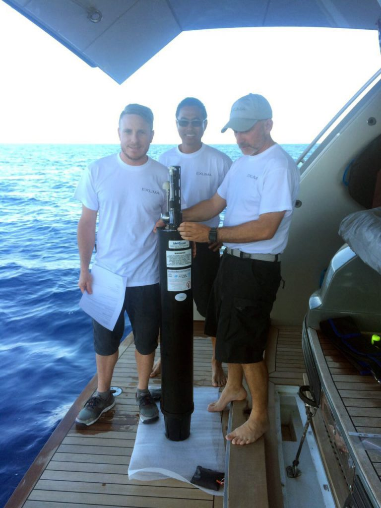 Seakeepers scientists deploy an ARGO profiling float from the M/Y Exuma in the Mediterranean Sea.