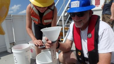 (L-R) Dr. Isabel C. Romero (College of Marine Science University of South Florida) and Dr. Jon Moore (Wilkes Honors College at Florida Atlantic University) collect samples from midwater trawling that used a 10-m2 MOCNESS net during DEEPEND Consortium cruises. Photo Credit: Isabel Romero, courtesy of DEEPEND.