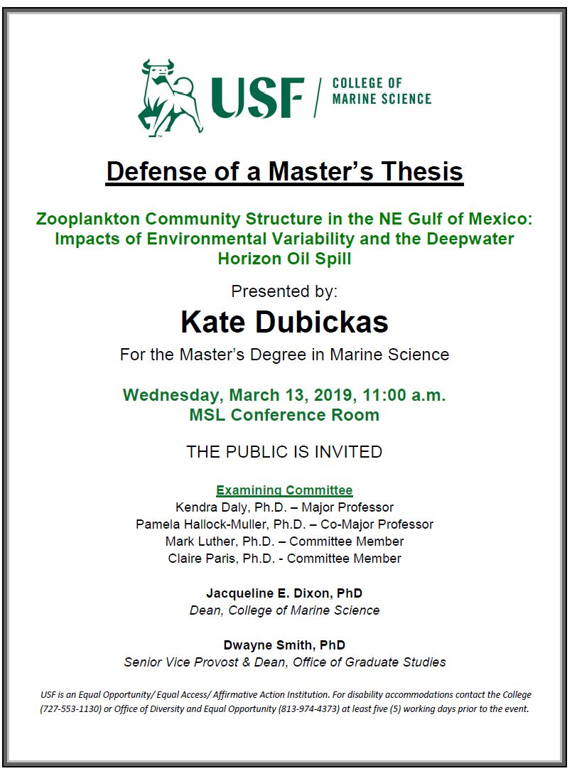 Kate Dubickas Defense of a Master's Thesis