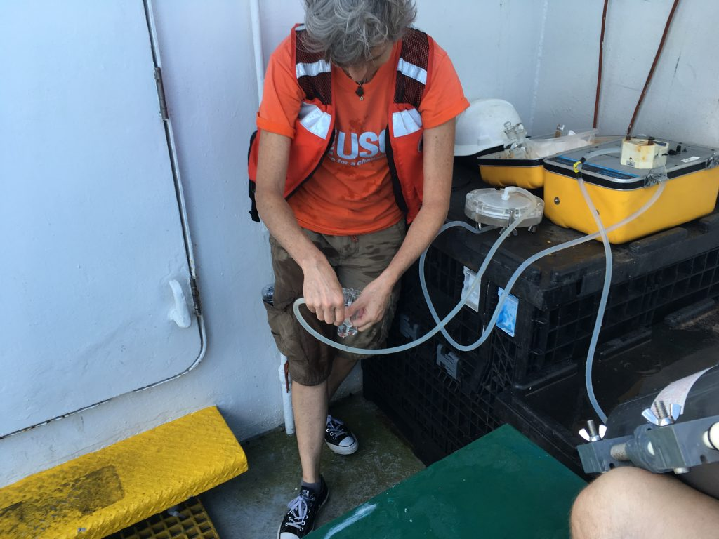 Kim Yates USGS Sampling Seawater for pH