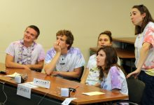 Members of the Seminole High School 'A team' review their answers during a break in the action of the Round Robin morning session at the 2019 Spoonbill Bowl.