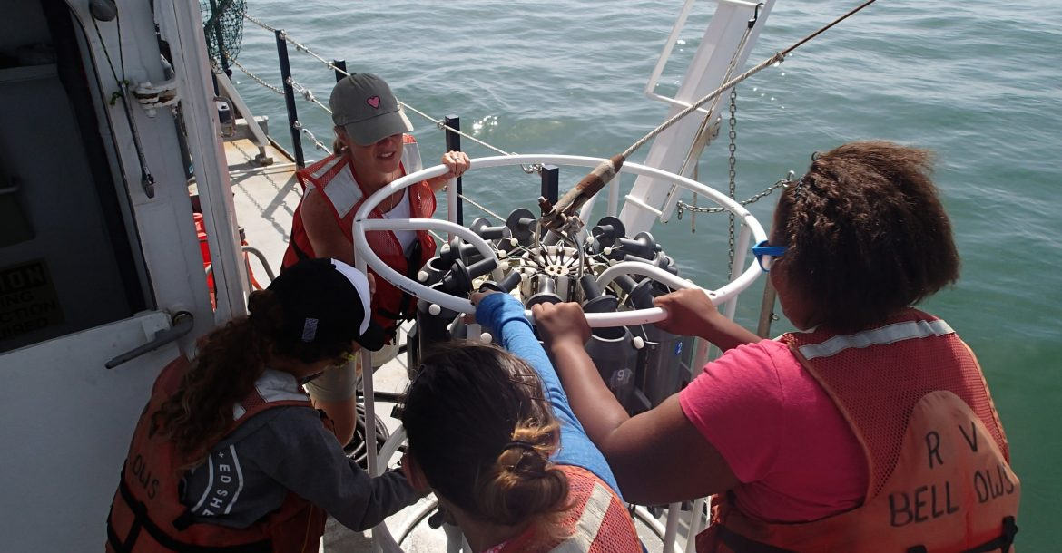 OCGers aboard research cruise during Oceanography Camp for Girls