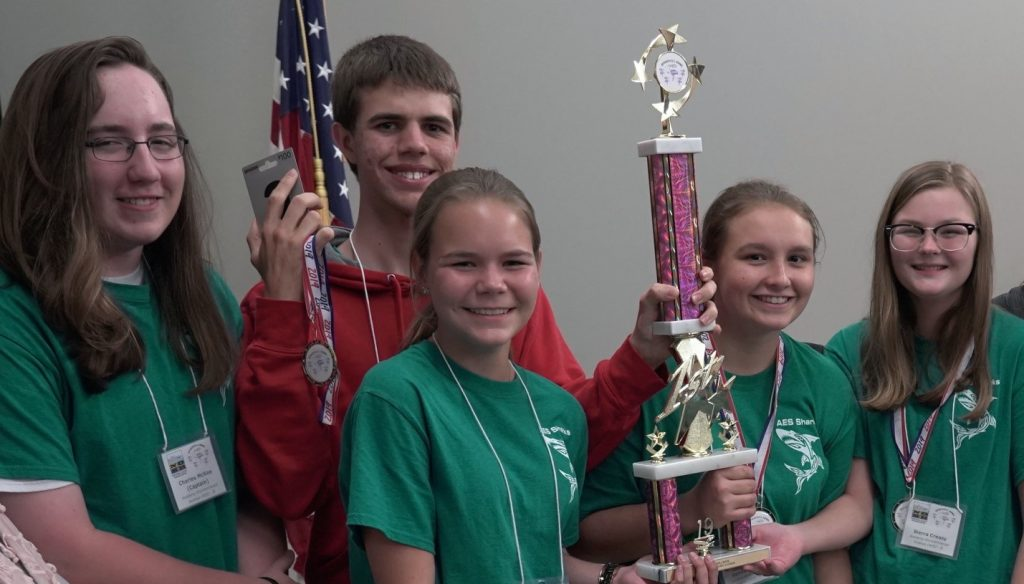 The 2019 Spoonbill Champion team is the Academy of Environmental Sciences B-team members from Crystal River, Florida. The winning team members from left to right are Charles McKee (Captain), David Laplante, Kendall Barker, Hannah Ronk and Sierra Creasy. Photo Credit: Spoonbill Bowl volunteer staff.