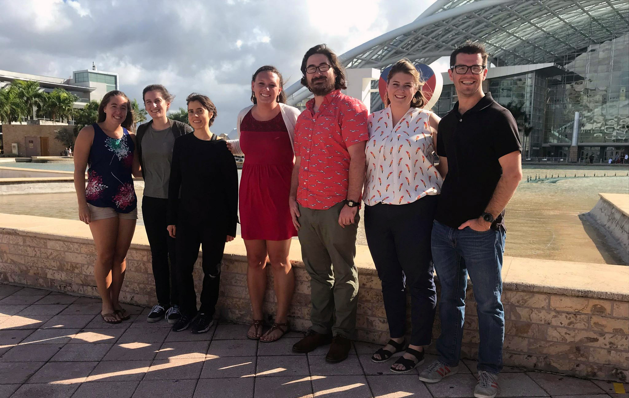 Seven USFCMS graduate students just wrapped up their second day at the 2019 Association for the Sciences of Limnology and Oceanography (ASLO) conference in San Juan, Puerto Rico. Attendees include left to right: Jon Sharp, Ellie Hudson-Heck, Shannon Burns, Adrienne Hollister, Katelyn Schockman, Kate Dubickas, and Ben Ross. Photo courtesy of: Kate Dubickas