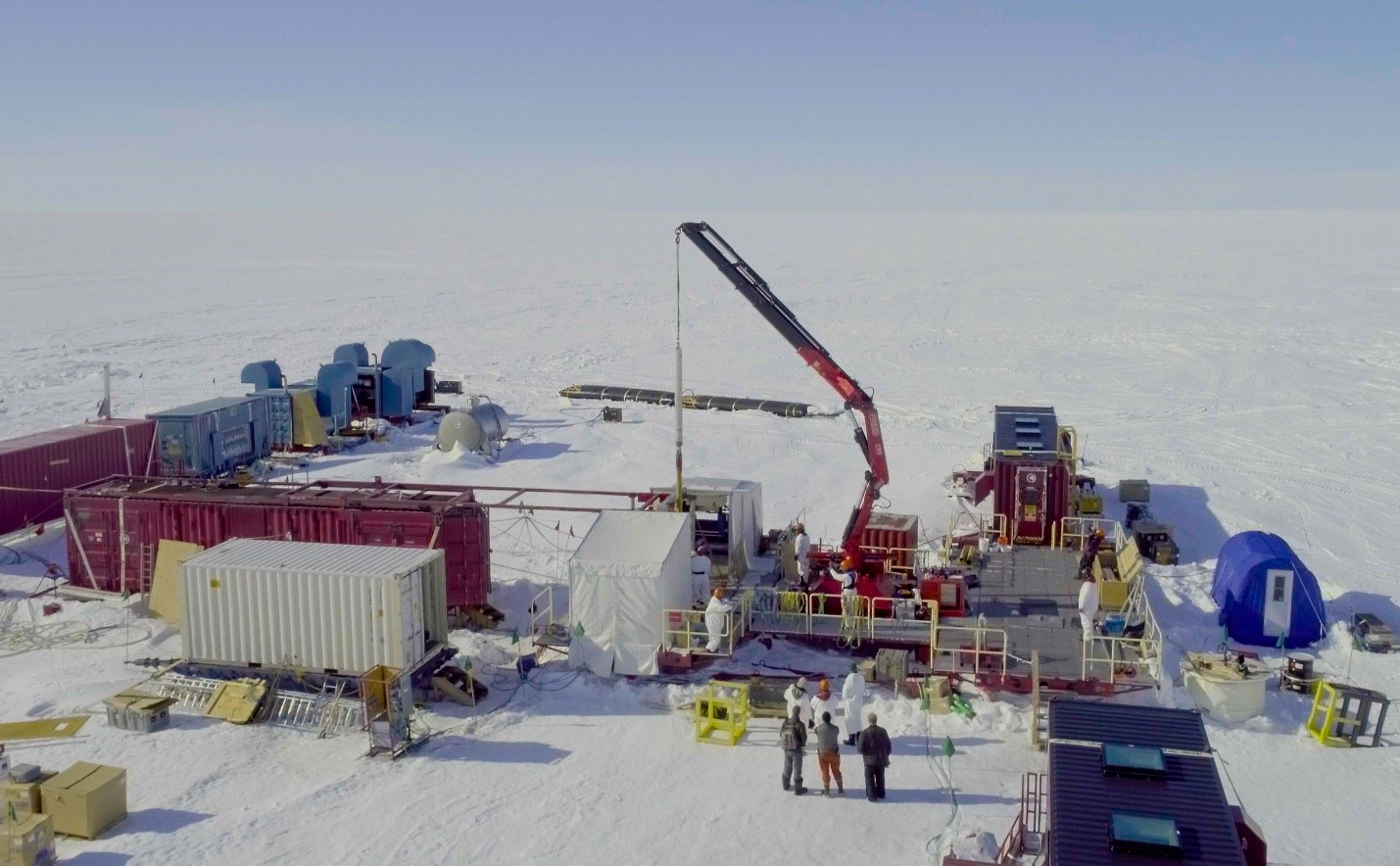 An aerial view of the gravity corer being retrieved.  Photo credit: Billy Collins, SALSA