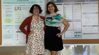 Photo of Natalia Lopez Figueroa and Natalie Sawaya win poster presentations award