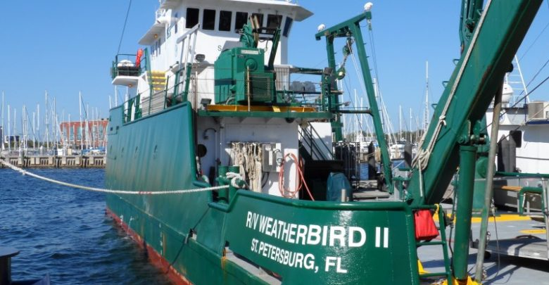 The Research Vessel Weatherbird II docked at the University of South Florida College of Marine Science. By Seán Kinane (21 April 2016).