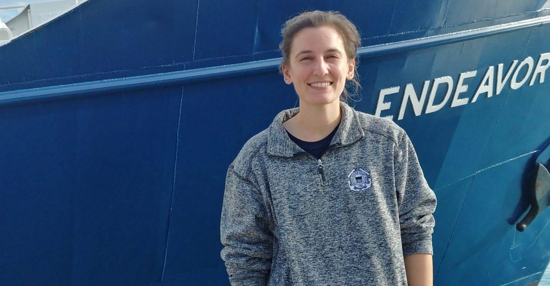 Shannon Burns prepares for field work aboard the R/V Endeavor.