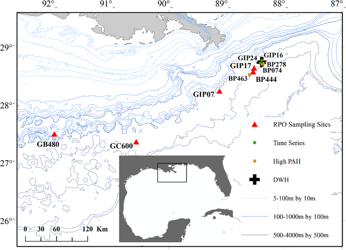 Sites of sediment collection for time series (green), high PAH (yellow), and RPO analysis (red).