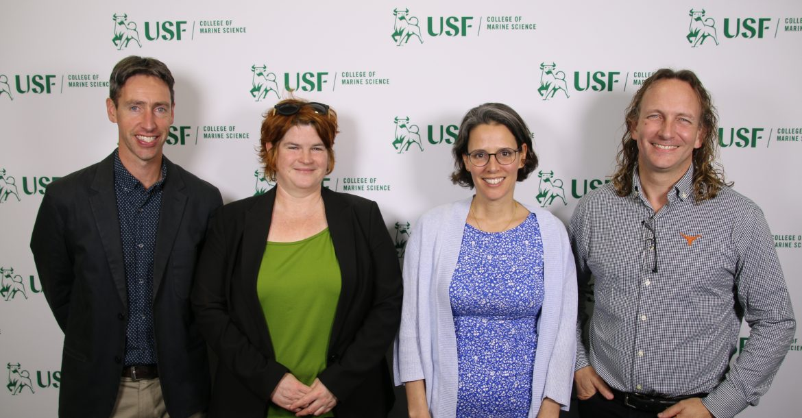 The 2019 Eminent Scholars Lecture Series. From left to right: Andy Thompson, California Institute of Technology, Tina Van de Flierdt, Imperial College London, Maria Dornales, St. Andrews University, Scotland, and Sean Gulick, Jackson School of Geosciences, University of Texas at Austin.