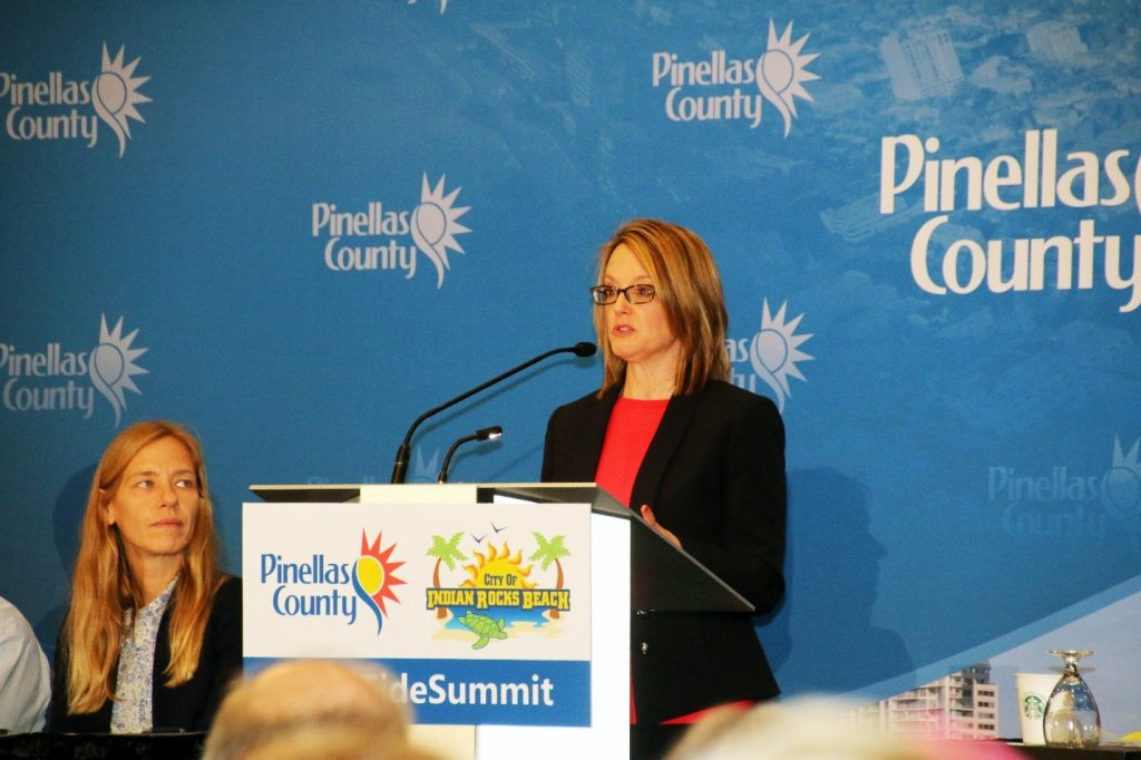 Kelly Hammer Levy, Division Director for Pinellas County Environmental Management and USFCMS alumna, summarizes the County response plan to red tide.