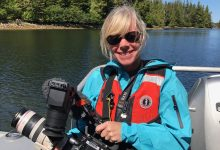 Kristen on assignment off the coast of Prince of Wales, Alaska, where she and her team shot a video about sea otters using VR technology for Earthwatch Institute, a global nonprofit based in Boston.