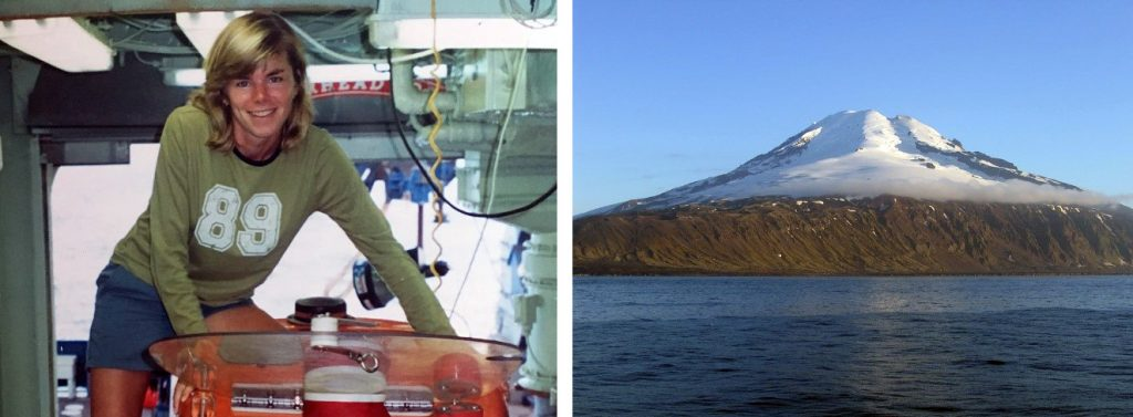 Kristen standing on the Alvin submersible while docked aboard its transporting research vessel (left) and an approaching view of Jan Mayen, the world's northernmost active volcano (right).