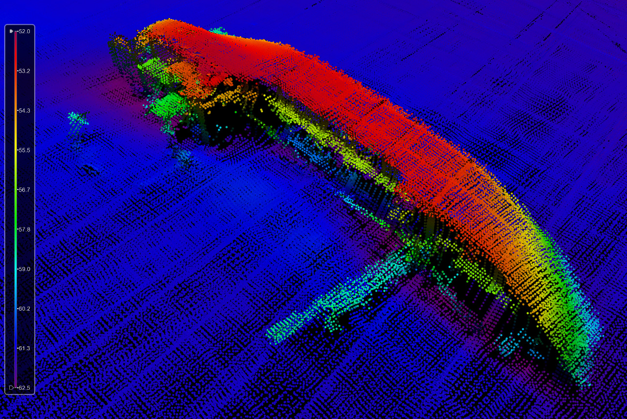 "The M/V Holstein was a freighter that sank in a storm in 1992 near the Florida Middle Grounds, a series of ridges and popular fish hangout more than 100 miles northwest of Tampa Bay. It had 2000 tons of corn flour onboard and is known as the ""flour wreck."" This image shows a 3D map of the wreck; the red dots indicate the top of the ship sits about 170 feet off the bottom."