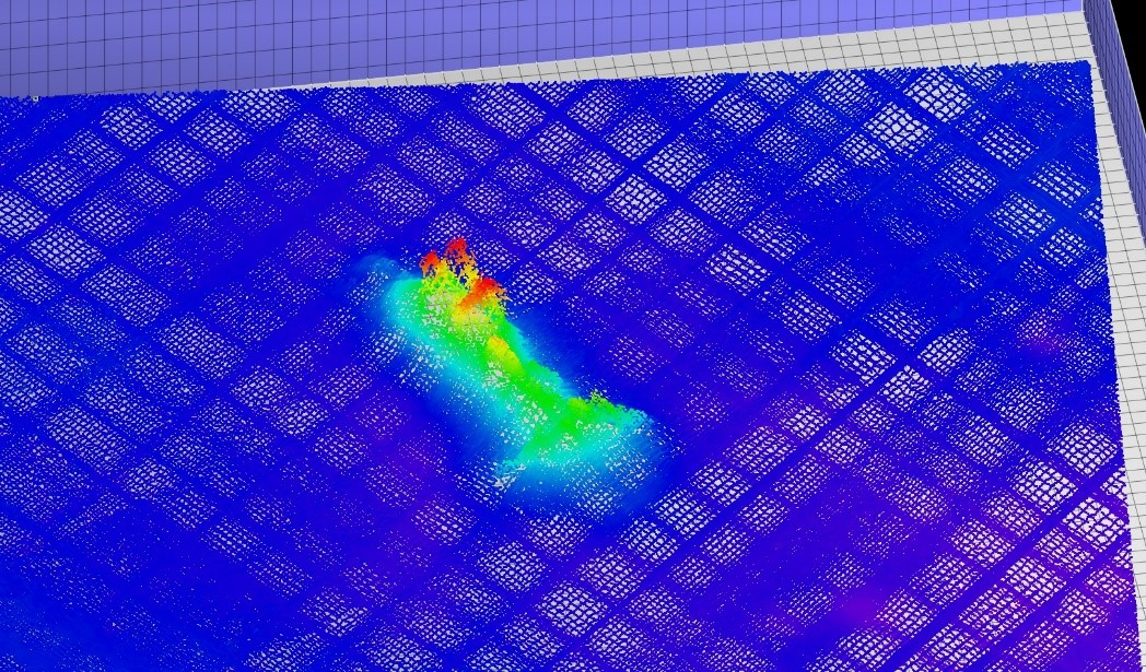 Another wreck found during an April 2019 multibeam survey by the C-SCAMP team. The total pile here is about 30m long. Investigation using towed video revealed that this wreck is not a ship, but something else – pipes, possibly fallen from a cargo ship. The pipes seen in video are the tallest part of the wreck – the four shallowest points in red here, and are almost 4m tall and 10 m long!