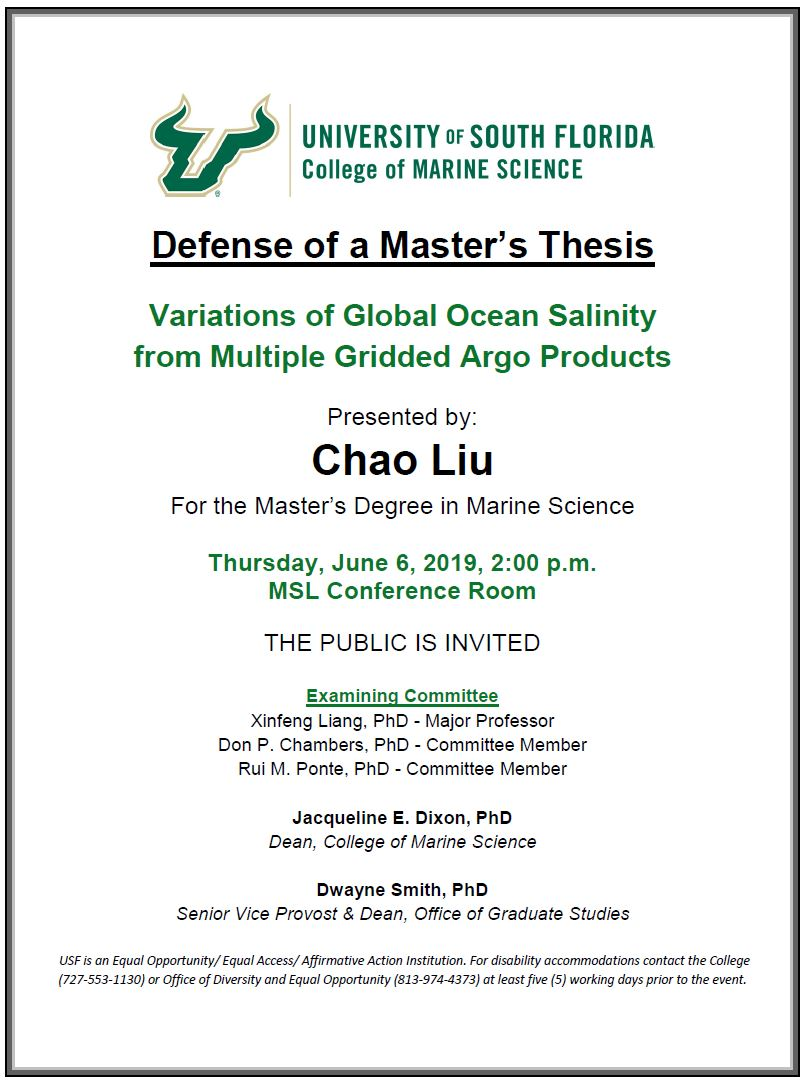 Chao Liu - Defense of a Masters Thesis