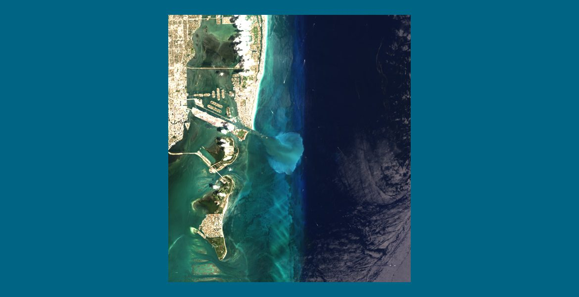 Landsat-8 image of the Port of Miami and surrounding waters from April 24, 2014, showing the size and location of the sediment plume. Photo Credit: Brian Barnes / USGS