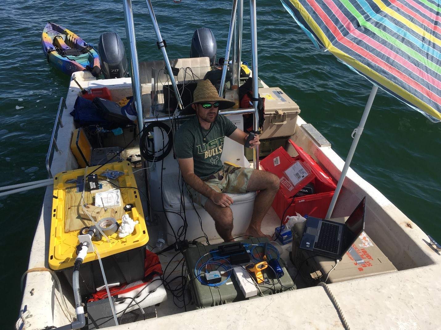 It can get cramped on a small vessel with all the instruments needed to characterize the carbonate system.  The last minute additions of a kayak –and beach umbrella! – were much appreciated.
