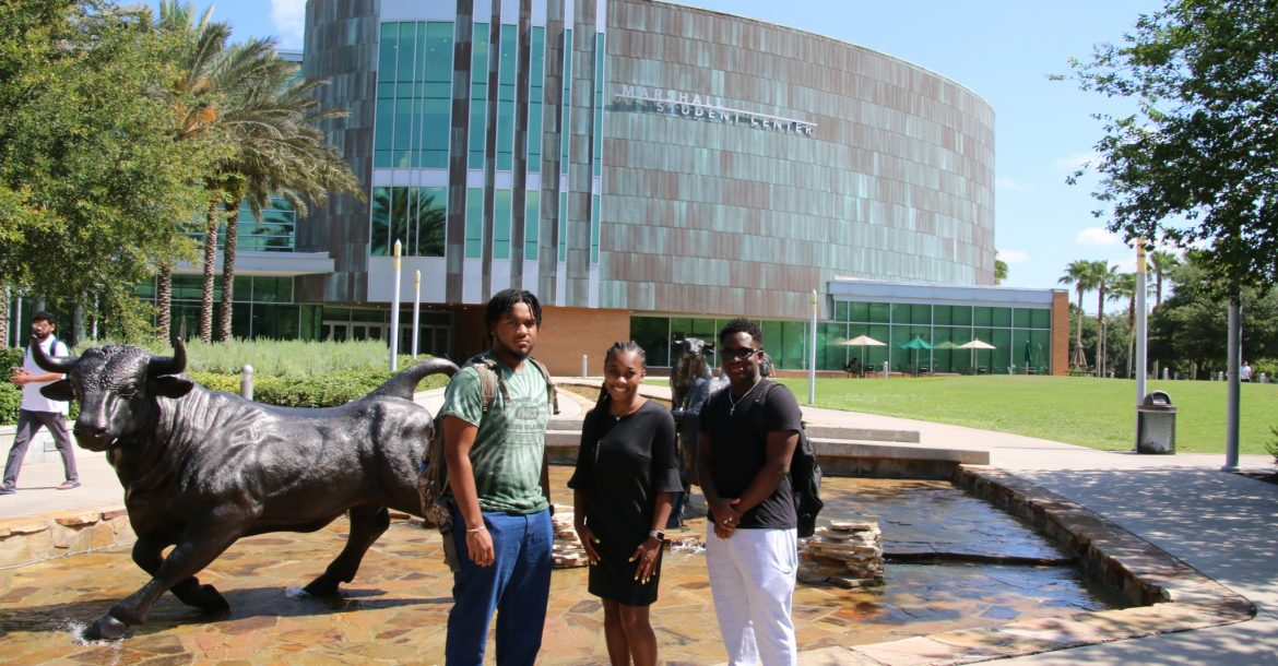 Angel Cedeño, Alexis Peterson, and Tione Grant explored the USF Tampa campus as part of their orientation for the 10-week REU program, sponsored by the National Science Foundation.