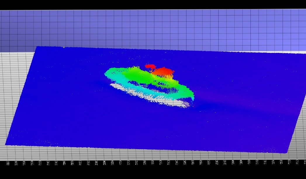 The first shipwreck found in April 2019 by the C-SCAMP team, this ship is about 35m long, 9m wide, and 10.5m tall from the seafloor. This 3-D view indicates depth using color – red is shallowest, and blue is deepest.