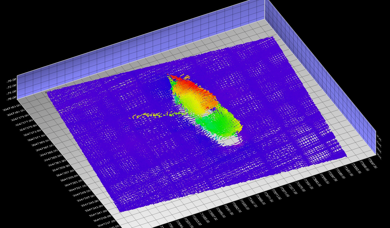 The third wreck found during the April C-SCAMP mapping cruise is shown here from a different angle.  Multiple passes are needed to properly build up a detailed image of something like a wreck.