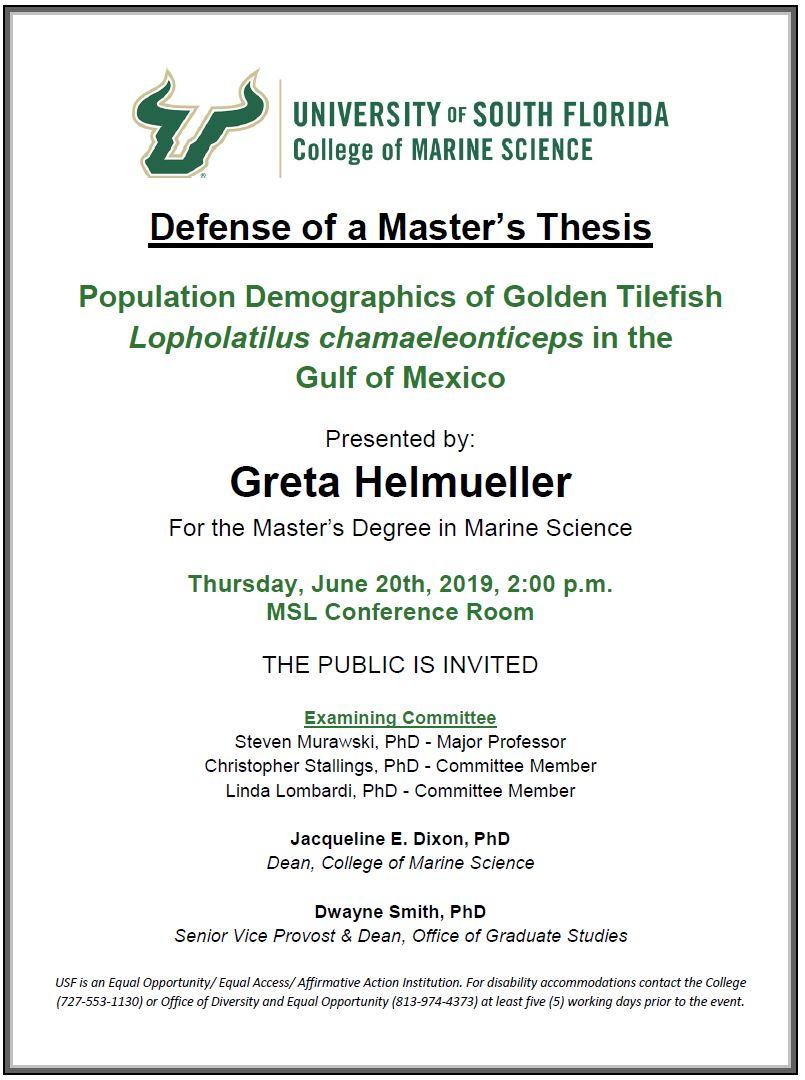 Greta Helmueller, Defense of a Master's Thesis