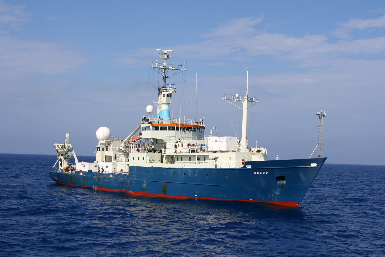 The R/V Knorr was operated by Woods Hole Oceanographic Institution from 1970-2016. It was used on the GEOTRACES expeditions in 2010-2011 during which iron aerosol samples were collected for the study led by the USF College of Marine Science.