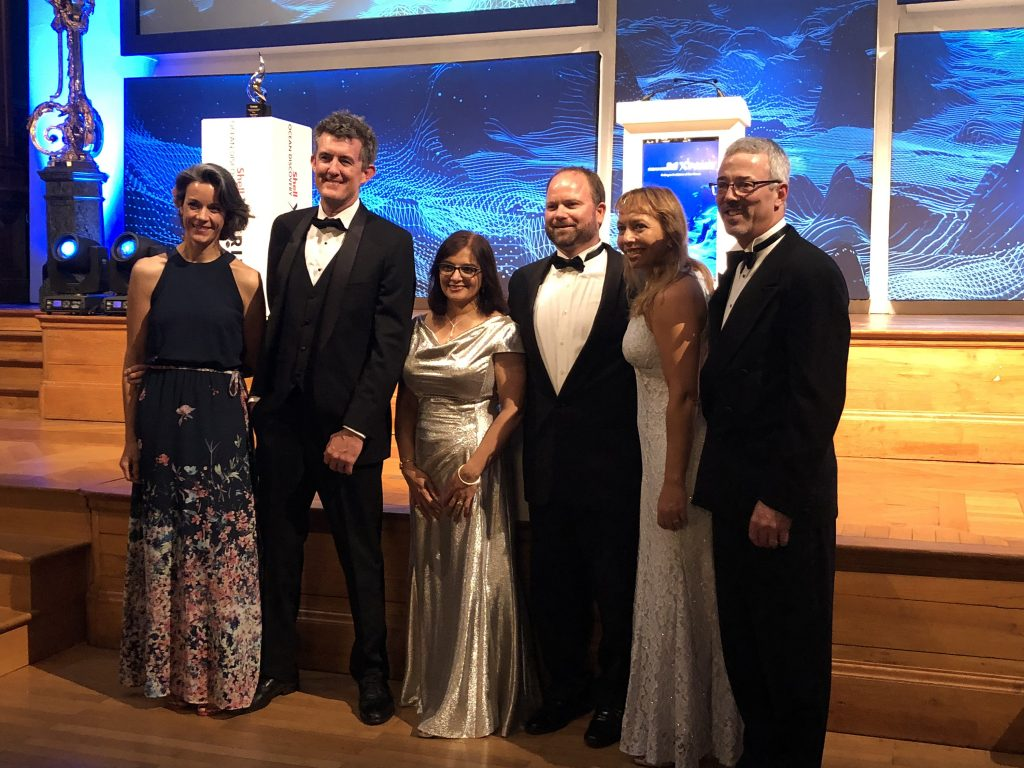 USFCMS represented at the Shell Ocean Discovery XPRIZE awards ceremony. From left to right: Aida Alvera Azcarate, Drew Remsen, Jyotika Virmani, Jay Law, Chris Kellogg, and David Mearns.
