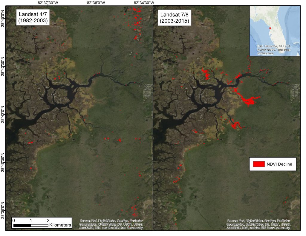 Figure 4: These Landsat satellite images for 1982–2003 (left) and 2003–2015 (right) indicate a proxy for forest decline in red. (Source: ArcGIS® basemaps)