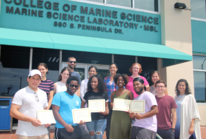 REU participants were awarded their certificates of completion in a commencement ceremony with CMS graduate students and faculty.