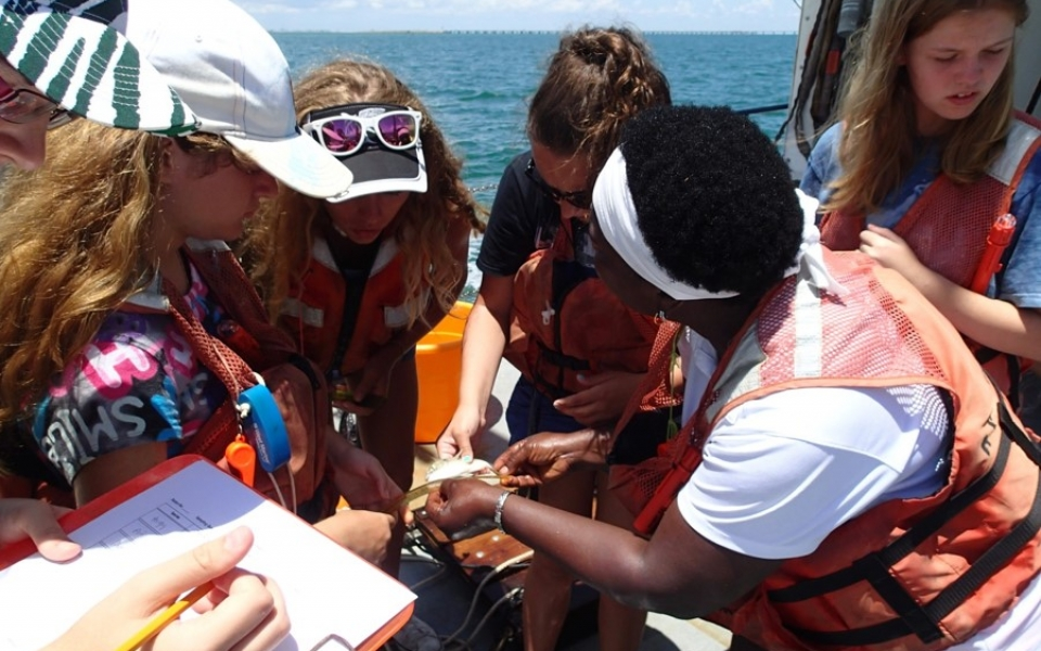 Teens Learning at Sea with the Oceanography Camp for Girls during a research cruise with ocean science mentors (CMS graduate students)