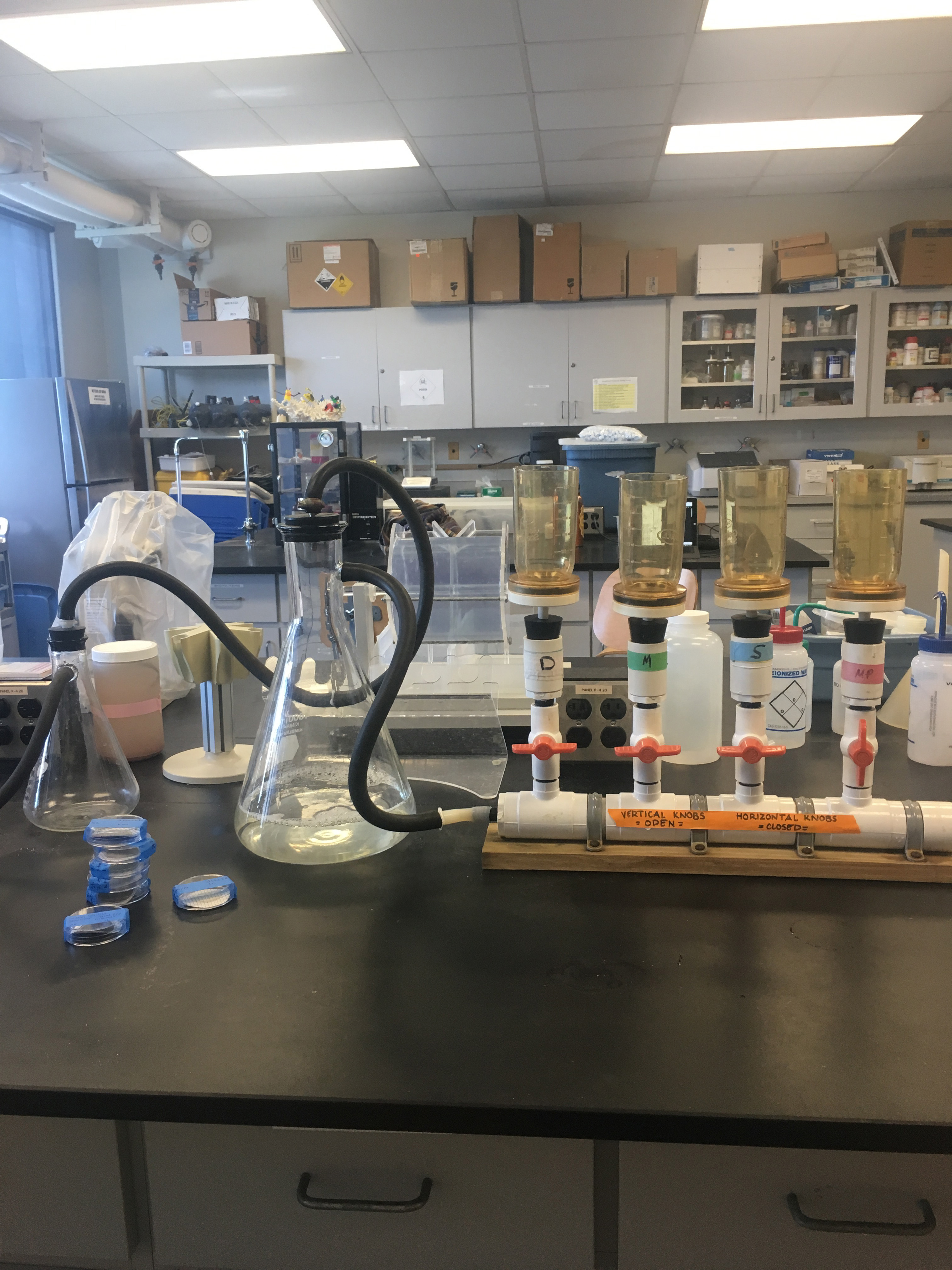 Vacuum filtration system used to filter collection samples. Photo Credit: Kinsley McEachern