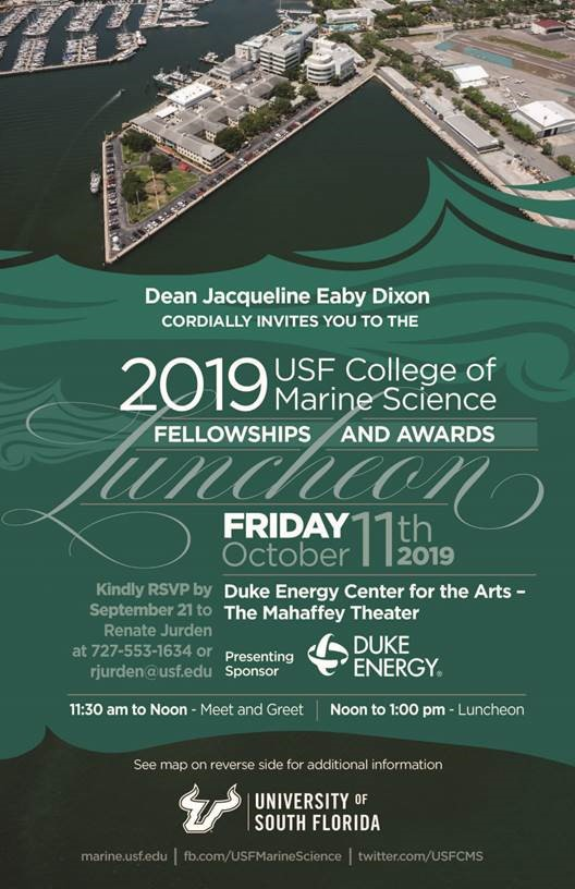 The 2019 USF College of Marine Science Fellowships and Awards Luncheon