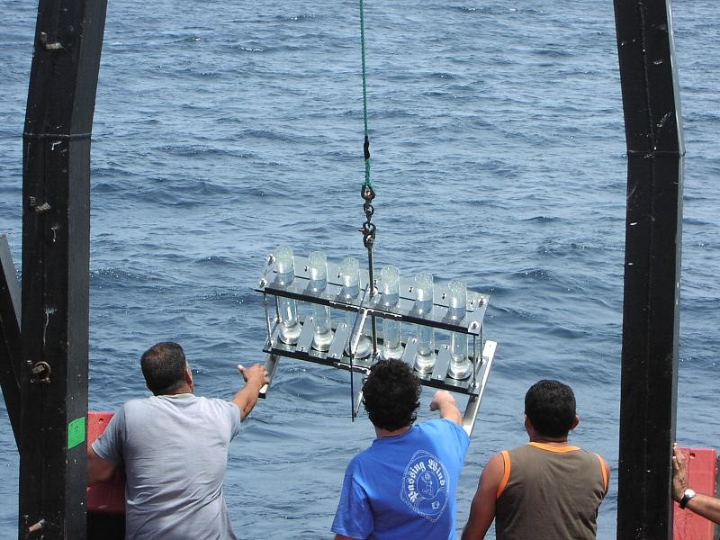 The CARIACO cruises served as a platform for training, data collection, and the basis of a thesis for more than 30 graduate students in the U.S. and Venezuela. Here, Enrique Montes (USF) was deploying drifting sediment traps for his dissertation research.