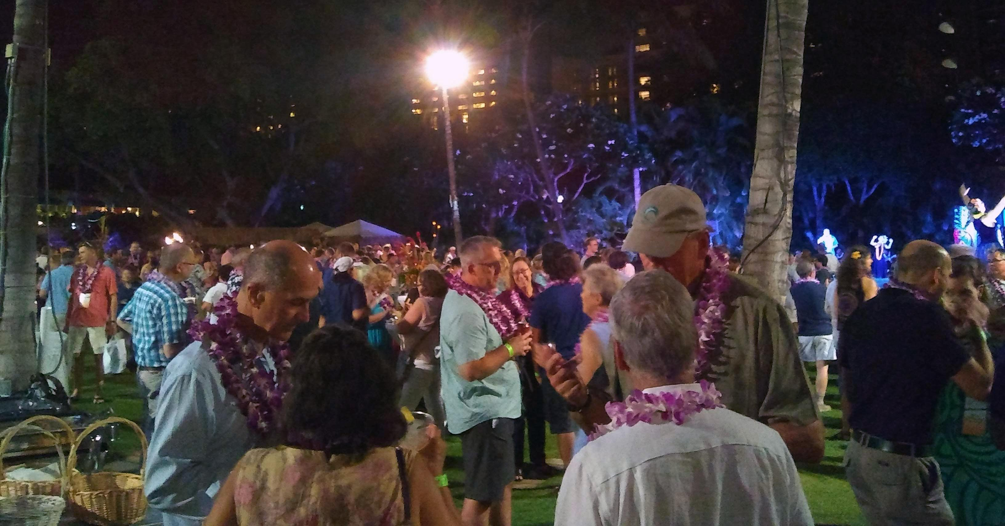 Hundreds of attendees at the OceanObs '19 luau. Dr. Frank Muller-Karger was sporting multiple leis as he took in the island spirit.